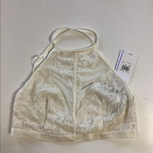 NWT Guess halter style cross back lace bralette